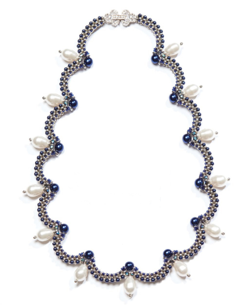 Bead Royale eBook by Cristie Prince. Lady Diana necklace. bead weaving with seed beads and crystals