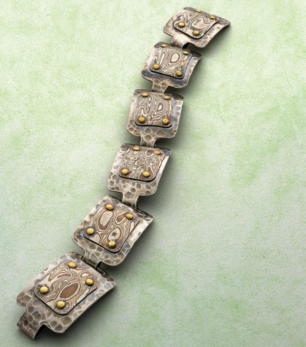 Karen Lauseng shows you how to make this mokumé gané and textured silver link bracelet. She also discusses several variations of this design and why she settled on this one; photo: Jim Lawson