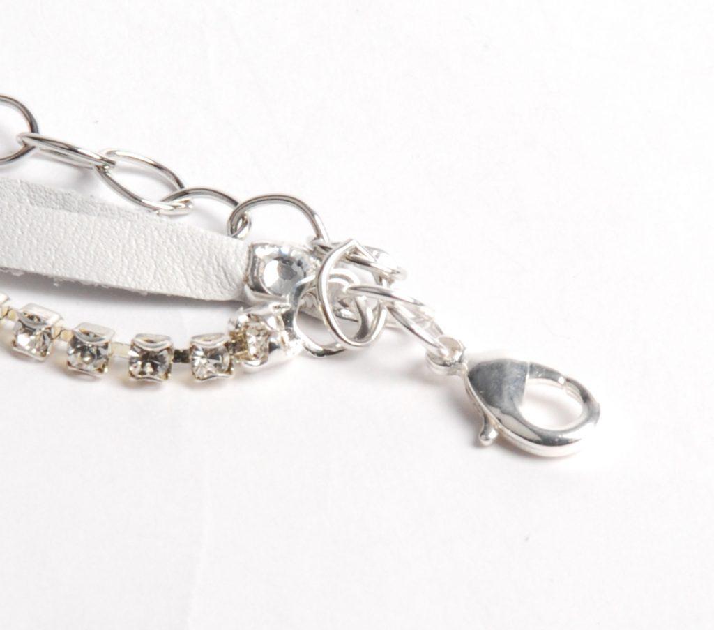 Leather Bracelet project by Tammy Honaman, leather, Swarovski cup chain, silver chain, Swarovski crystals