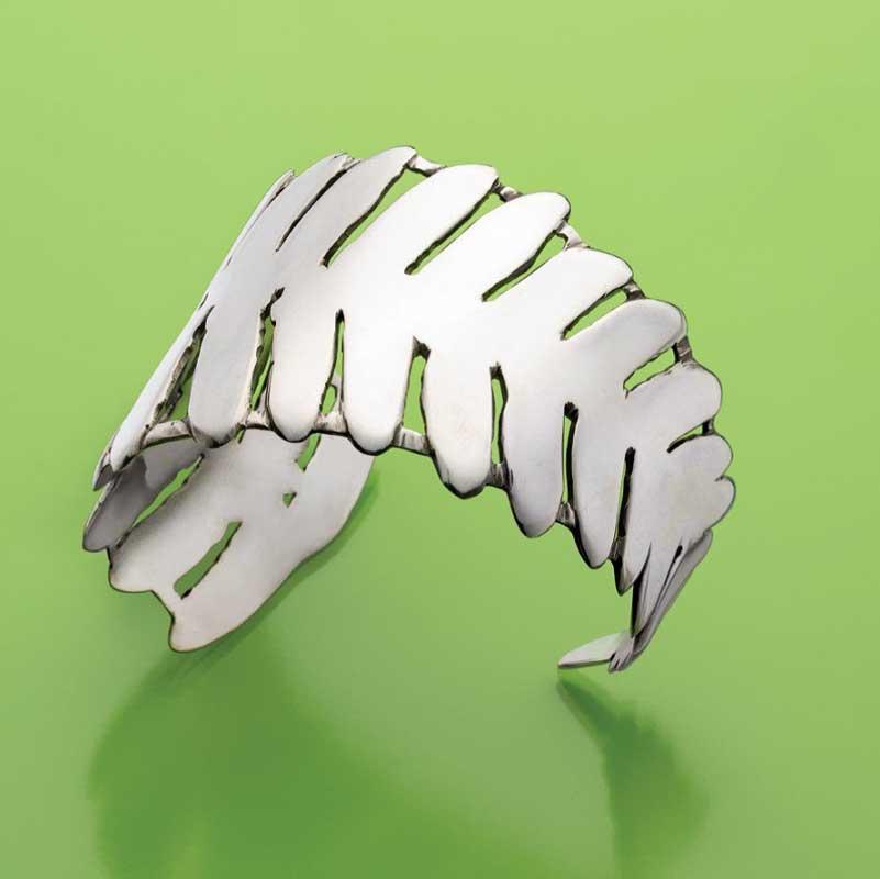 Saw pierced fern leaf cuff by Betsy Lehndorff