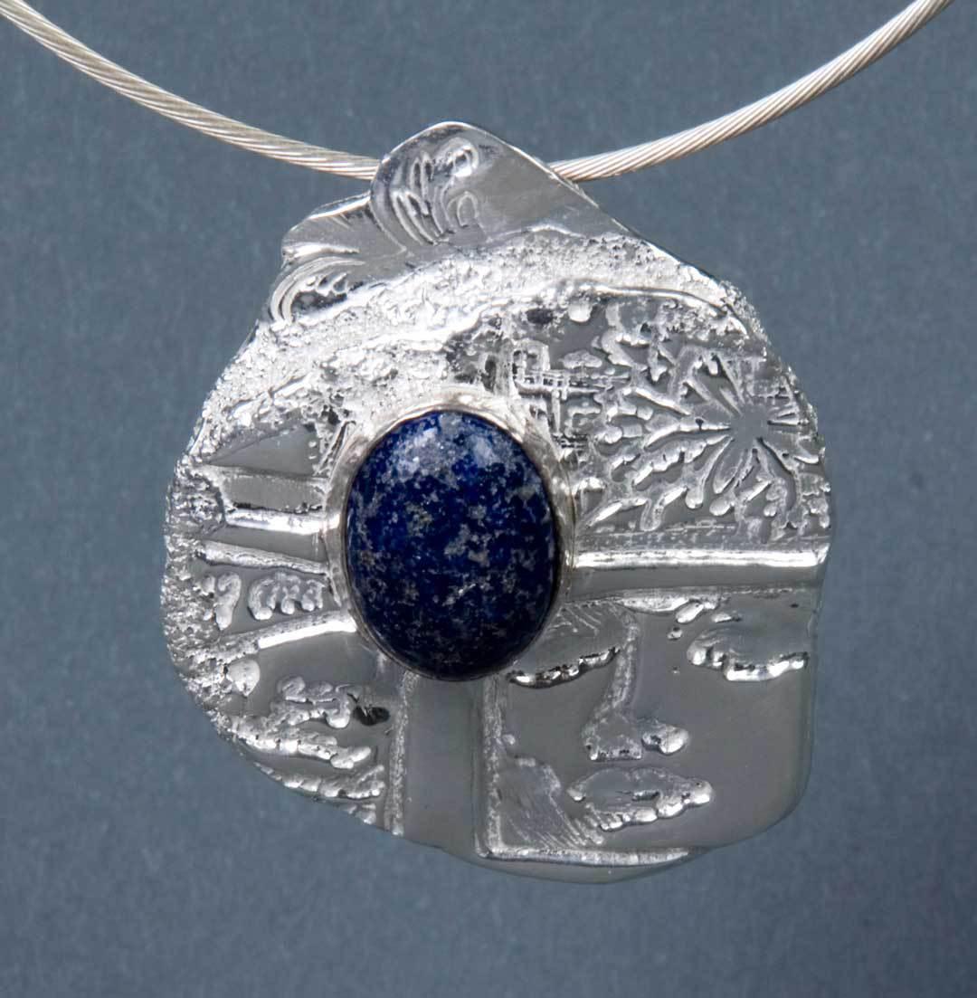Fine silver metal clay pendant with lapis cabochon, Tammy Honaman.