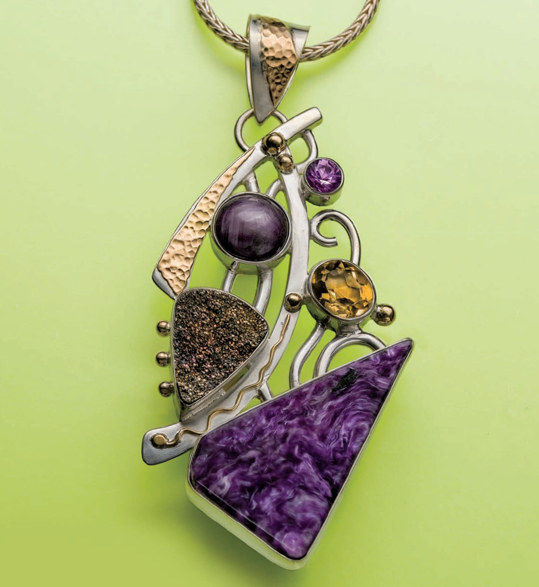 Charoite Pendant with other gemstones: ametrine, citrine, corundum, and rainbow drusy pyrite, by Marilyn Mack. Originally published with a profile of the artist in Lapidary Journal Jewelry Artist April 2013; photo: Jim Lawson