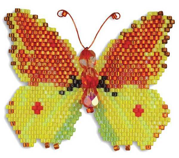 Madeiran Brimstone Butterfly from Brick-Stitching Nature: Charts for Beaded Butterflies, Dragonflies, and a Honeybee pattern compilation download by Karen Parker