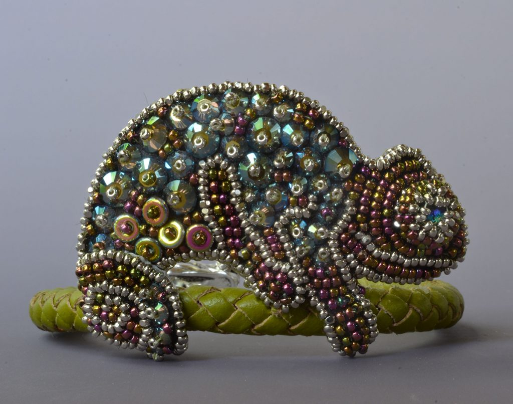 Marty the Chameleon, by Kinga Nichols. Creative Bead Embroidery 1 and 2 with Kinga Nichols