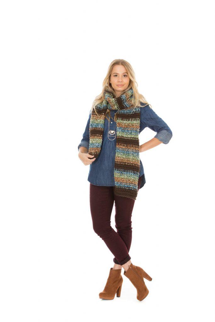 Meryl Tunisian Crochet Scarf in bulky yarn