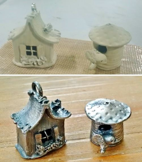 how to make metal clay tiny house charms