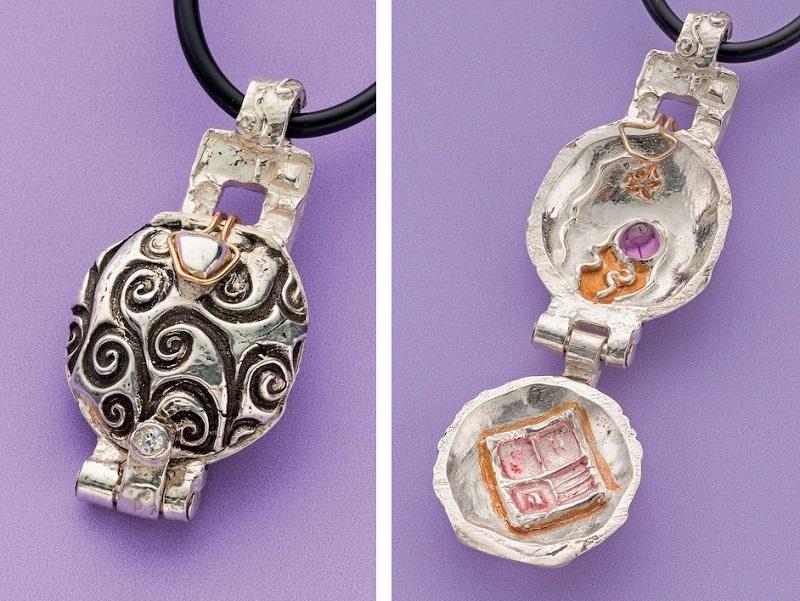 Arlene Mornick's Metal Clay Hinged Locket. Three tiny metal clay knuckles serve as the hinge mechanism.