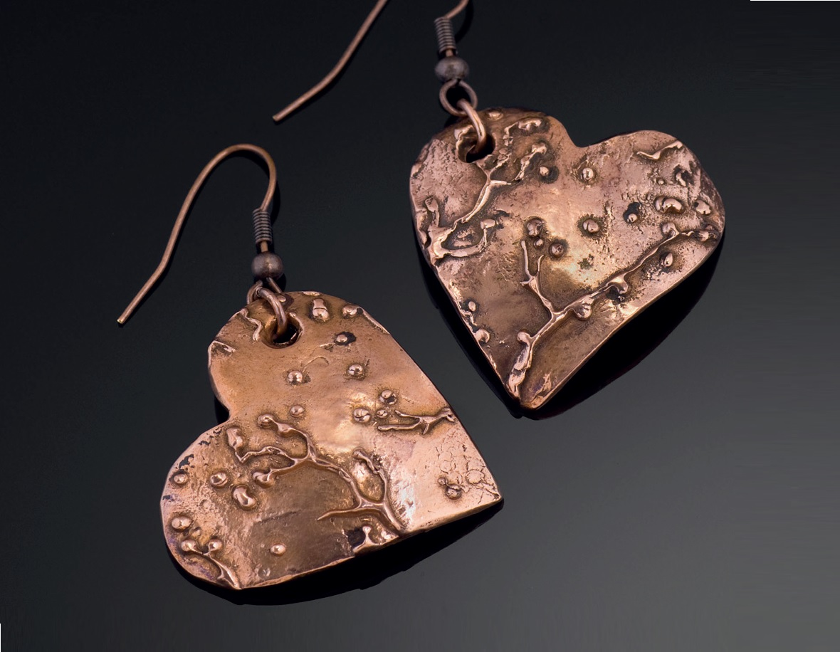 metal clay jewelry textured with metal clay paste