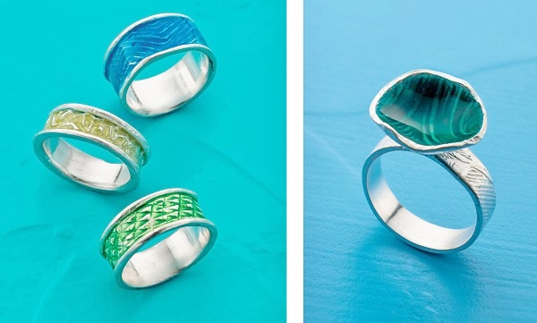combining metal clay with enamel jewelry making