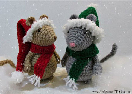 Christmas Hat and Scarf for Mouse crochet ornaments found in our FREE ebook on crochet Christmas ornaments and holiday patterns