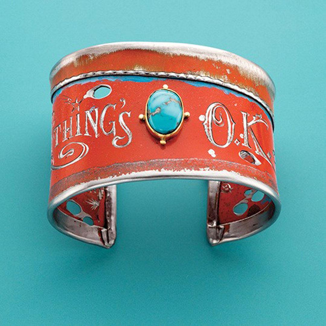 mixed media jewelry: Kit Carson's metal cuff