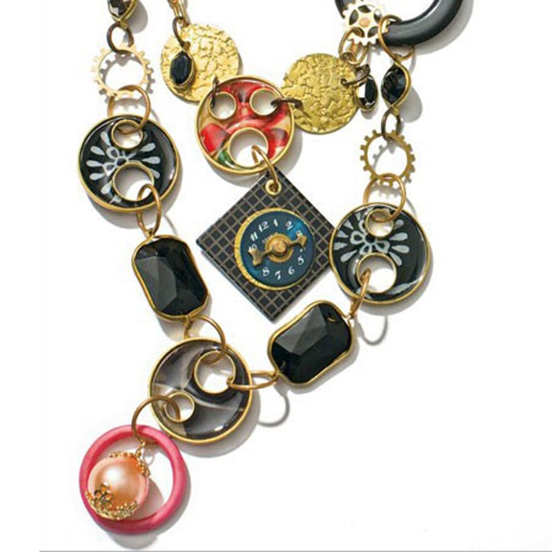 mixed media jewelry: station necklace