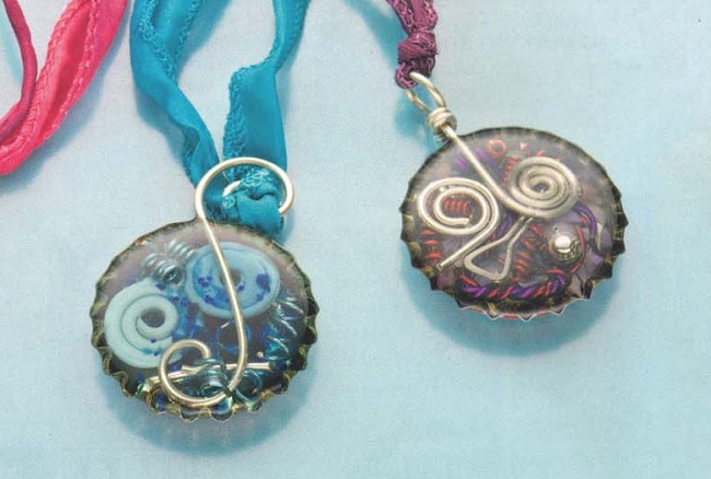 mixed media jewelry: bottle cap and resin pendants