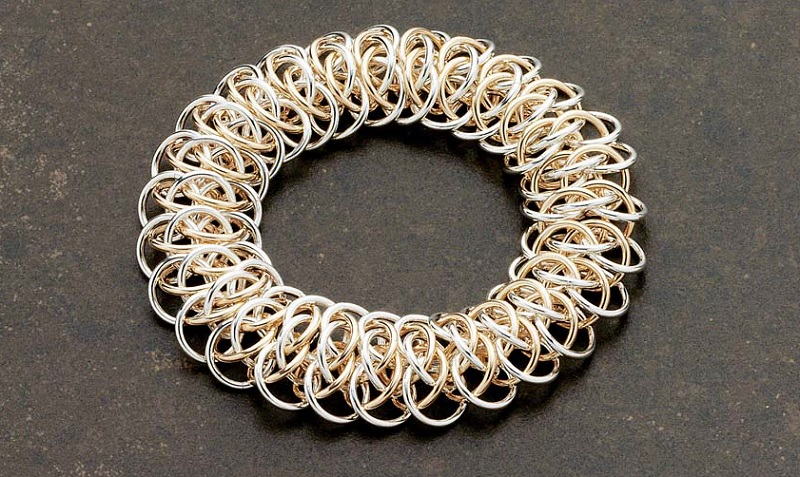 chain maille jewelry: Mixed-Metal Claspless Viperscale Bracelet by Karen Karon