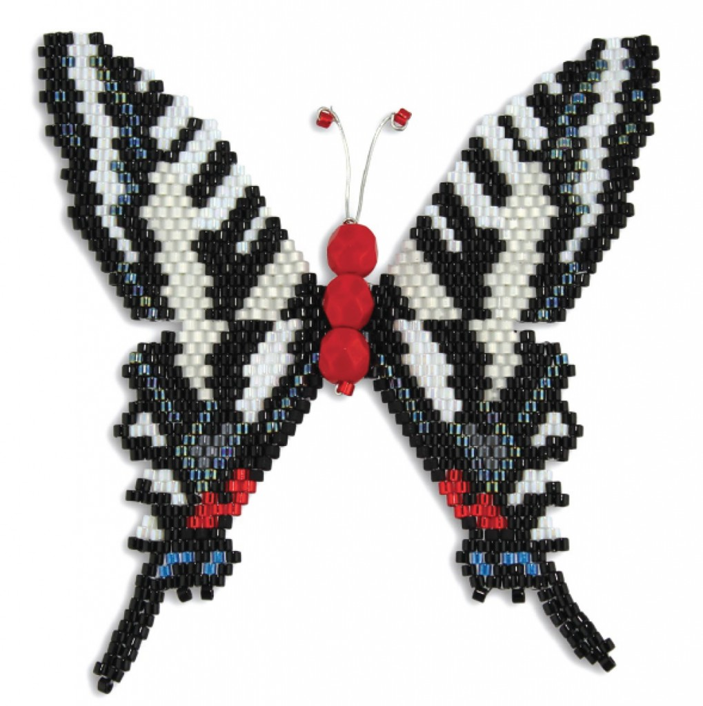 Monarch beaded butterfly, by Karen Parker. Brick stitch, Delica seed beads