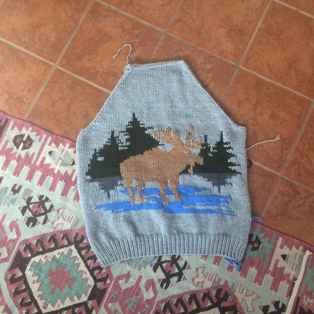 Lisa's Knit Moose Sweater - Just One Way to Love National Craft Month