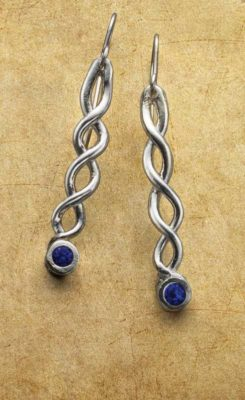Set stones in metal clay in the project Earrings with a Twist by Arlene Mornick; photo: Jim Lawson