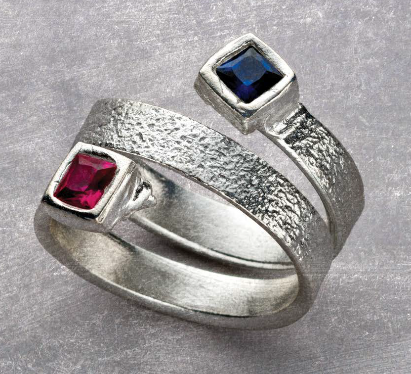 In her It's a Wrap ring project, metal clay artist Arlene Mornick creates a wrap-around silver ring set with two faceted stones; photo: Jim Lawson