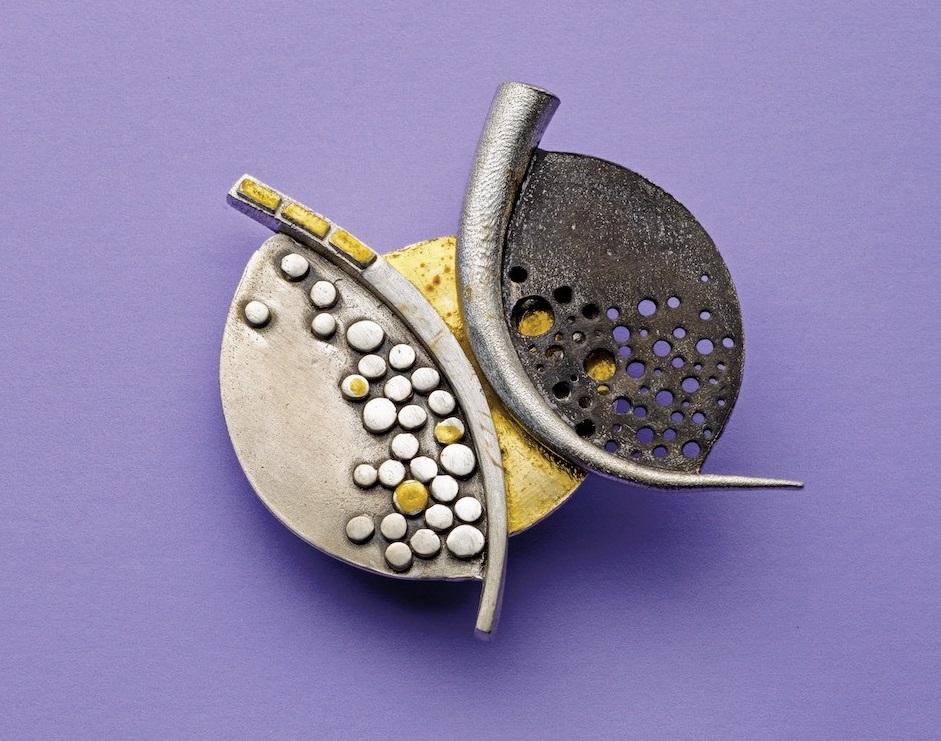 Patrik Kusek's Mosaic Metal Clay Pin. - metal clay jewelry