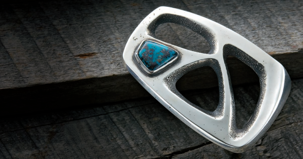 Ken Newman's Sandcast Belt Buckle project appeared in Lapidary Journal Jewelry Artist February 2010; photo: Jim Lawson