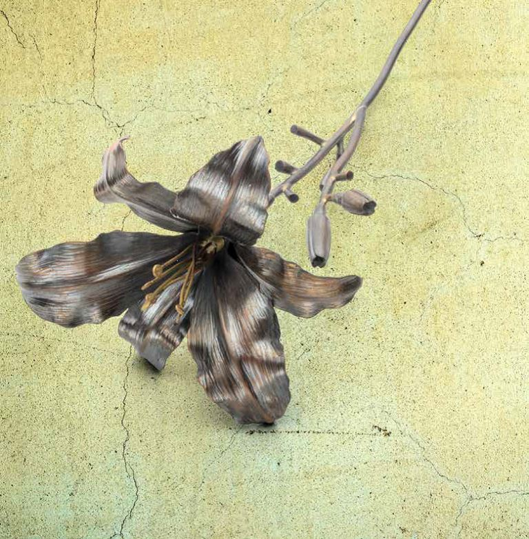 "jewelry designs: ""Steelworks,"" a profile of Brad Nichols, and his ""Daylily"" project appeared appeared in the March/April 2018 Lapidary Journal Jewelry Artist; Daylily photo: Jim Lawson."