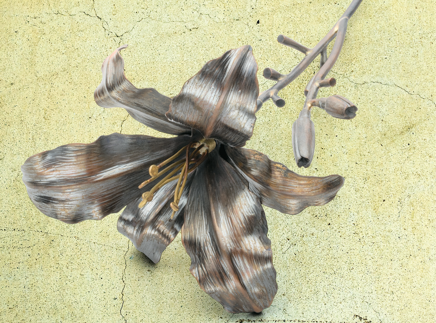 Published in Lapidary Journal Jewelry Artist March/April 2018, Brad Nichols's Daylily project walks you step by step through the fabrication of this sculptural copper flower, which he formed with help from a hydraulic press; photo: Jim Lawson