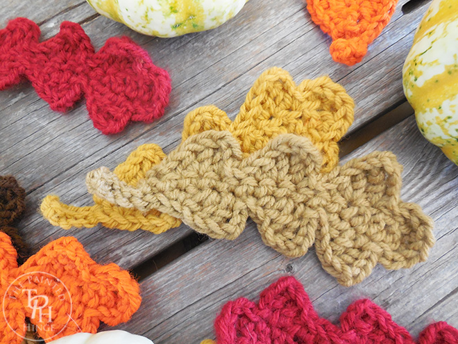 Use these fall crocheted leaves for your decorating.
