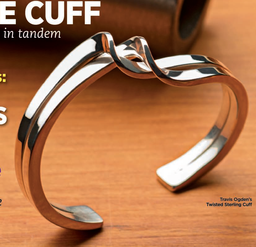 Twisted Sterling Cuff project by Travis Ogden appeared in Lapidary Journal Jewelry Artist November/December 2013; photo: Jim Lawson