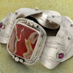 Open and Close Carved Metal Clay Bracelet with Hidden Hinge