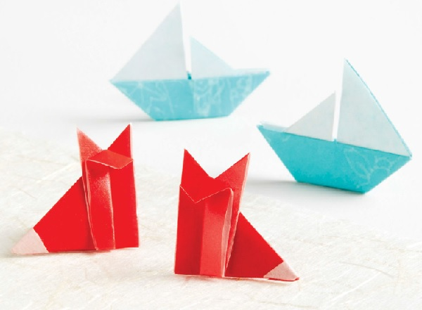 origami boat and fox earrings