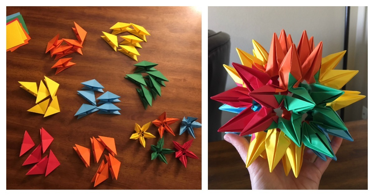 This model is made up of 60 units. You can see how the points form groups of five (pentagons), groups of four (squares), and groups of three (triangles), creating a spiky variation of a rhombicosadodecahedron.