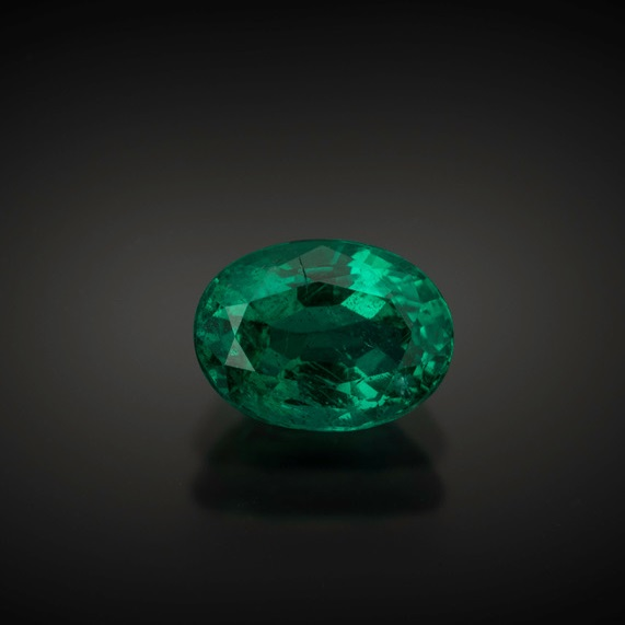 Some gemstones are close--but there is nothing quite like the green of emeralds, such as this 1.83 ct. oval Zambian stone. Photo by Mia Dixon, courtesy Pala International.