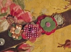 make a flower leather cuff with scrapbooking embellishments