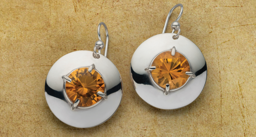 """citrine and silver earrings by Sam Patania using Sam's Simple Mounts, """"Sparkling in 3D,"""" in LJJA January/February 2018; photo: Jim Lawson."""
