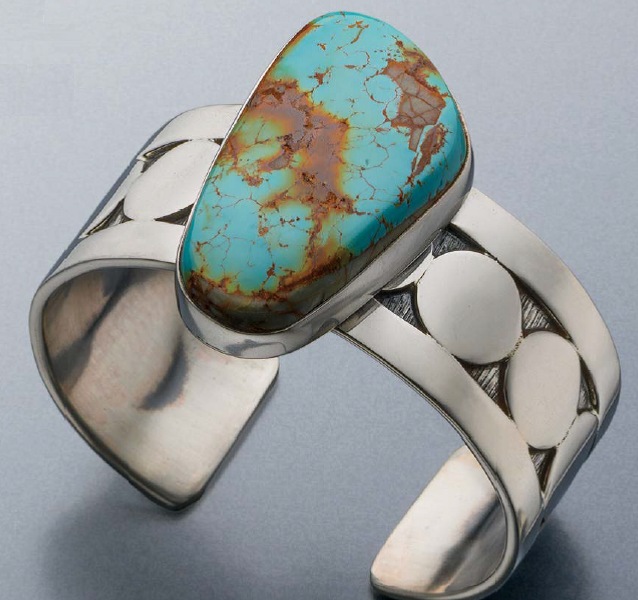 Silver and Turquoise Cuff by Sam Patania, Lapidary Journal JewelryArtist, May/June 2013; photo: Jim Lawson