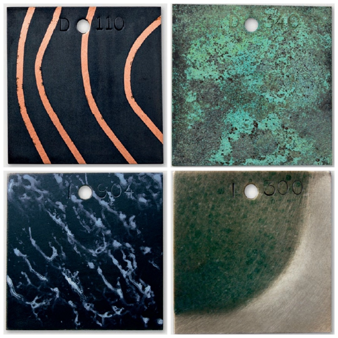Mathew Runfola shares a dizzying array of surface treatments in his book <em>Patina</em>. Clockwise from top left: Black patina on masked copper, blue-green and black speckle on copper, translucent green-blue speckle on sterling silver, black patina on sterling silver.