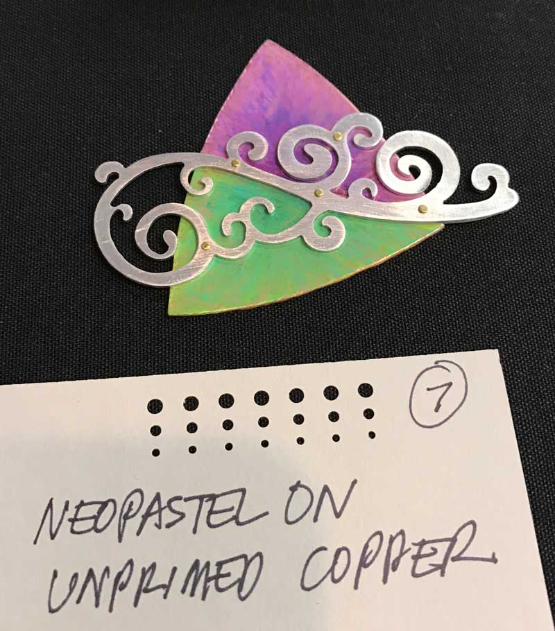 Patinas and the Metal That Loves Them: Adding Color to Your Jewelry Making. Neopastel on copper by Helen Driggs