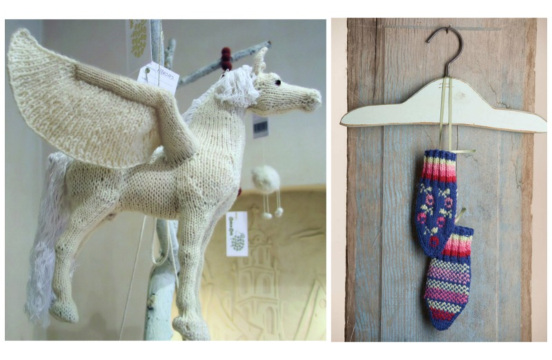 A knitted Pegasus and mittens