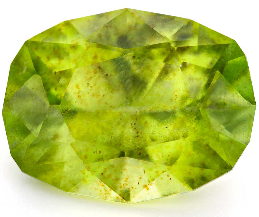 Jim Perkins's take on an Antique Cushion facet design, which he cut in peridot, 10.35 x 7.97 mm, 2.8 cts; photo: Jim Lawson