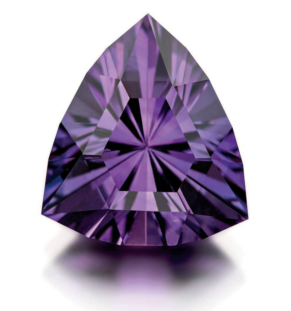 Among faceted stones, a fine amethyst is a gem to behold. This outstanding Improved Simple Trillion was designed and cut by Jim Perkins and originally appeared in Lapidary Journal Jewelry Artist December 2013; photo: Jim Lawson