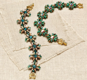 """Learn how to make beaded bracelets with this free beaded bracelet pattern titled, """"Quadrille Bracelet"""" by Sandie Bachand."""