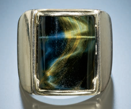 Pietersite and white gold ring; photo: Jeff Scovil