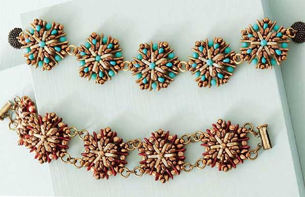 Camellia Bracelet kit, beadweaving, bracelet making, beadweaving pattern, beadwork, QuadraTiles beads, two-hole shaped beads