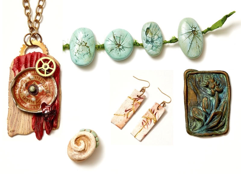 Explore a variety of techniques for antiquing your pieces in Christi's polymer clay jewelry making workshop The Art of Aging Gracefully.