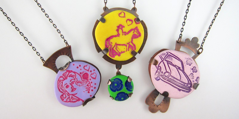 polymer clay tab-set pendant tutorial by Laurel Nathanson