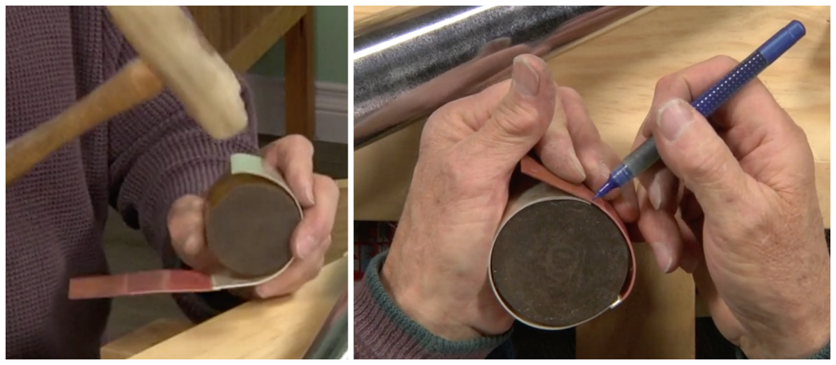 Richard forms the metal strip around the urethane donut.