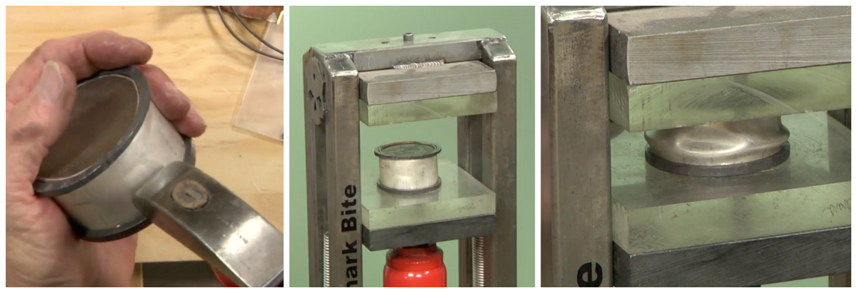 Add a few dents before loading the cuff into the hydraulic press. Then watch the magic happen.