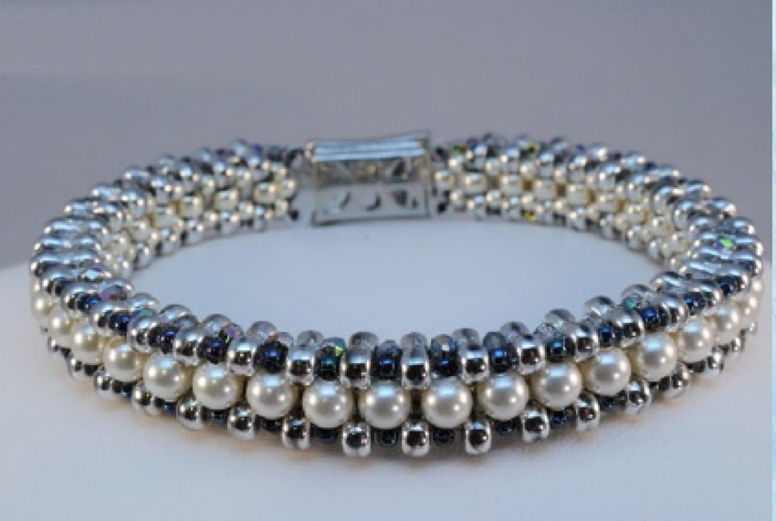 Bead Royale eBook by Cristie Prince. Princess Charlotte bracelet. bead weaving with seed beads and crystals