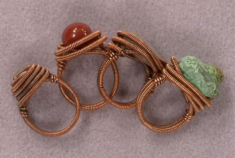 learn to make quick wire rings with or without gems, beads, and crystals