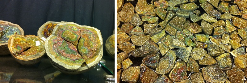Left: Open a nodule of rock and once in a while you'll find iridescent aka rainbow pyrite inside. Right: Pieces of rainbow pyrite can make fabulous cabochons. Russian Stones; photo:s M. White